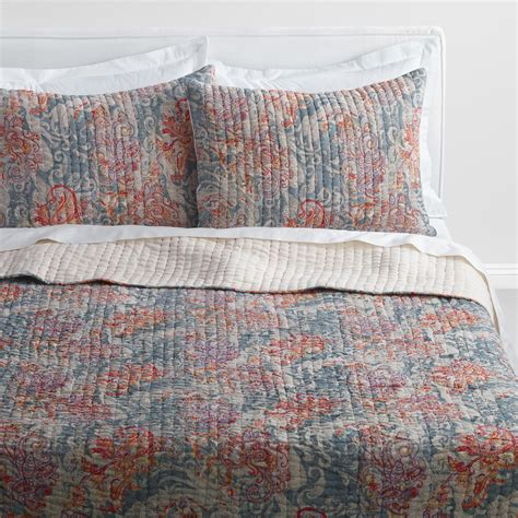 34398 world market bedding gray paisley kantha embroidered ishani quilt world market