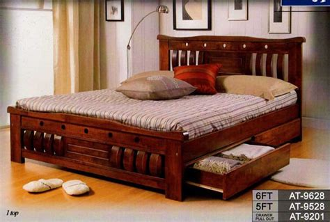 solid wood queen bed frame  drawers  sale