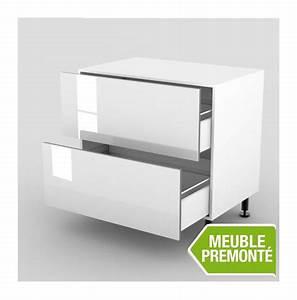 Meuble 100 Cm : meuble bas 100cm 2 casseroliers 70x100 cristal blanc ~ Teatrodelosmanantiales.com Idées de Décoration