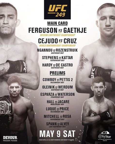 ufc  fight card fights lineup schedule