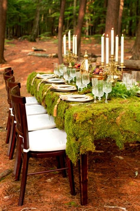 A Woodland Wedding With A Moss Table Cloth Inspired By