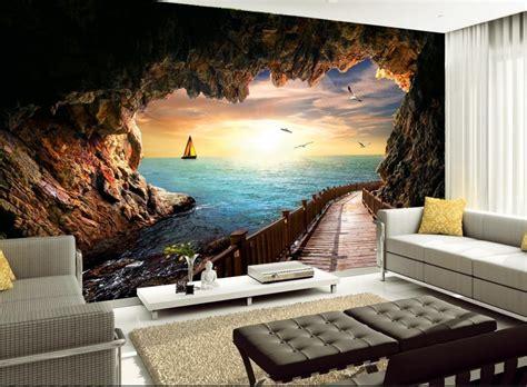 custom  wallpaper seascape sunset beautiful scenic cave