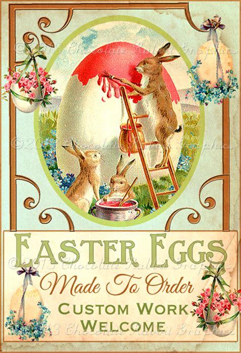 vintage style easter egg  rabbit gift label digital