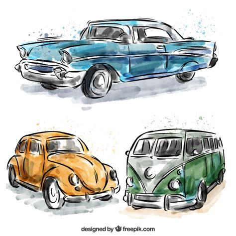 Set Of Caravan And Watercolor Vintage Cars Vector