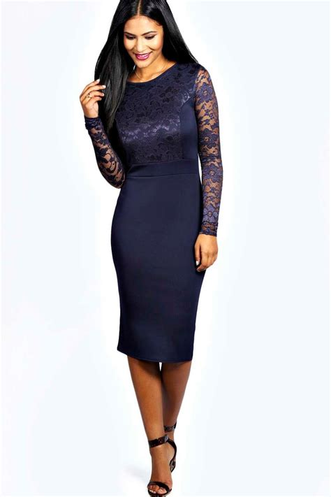 Boohoo Womens Anna Lace Long Sleeve Bodycon Midi Dress Ebay