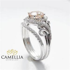 14k white gold engagement rings white gold morganite ring for Custome wedding rings