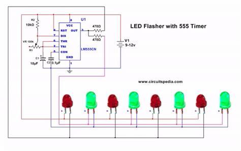 Led Flasher Circuit Diagram Using Timer Blinking