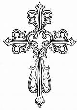 Coloring Cross Pages Elegant Crosses Easter Easy Rocks Flourish sketch template