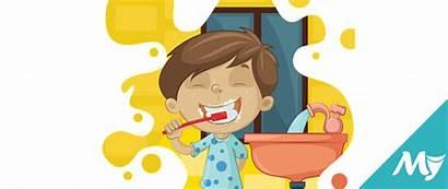 Clipart Cleaning Bath Washing Teeth Bathroom Vocabulary