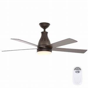 Hampton bay cobram in led indoor oil rubbed bronze ceiling fan with light kit and remote
