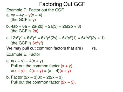 48 Factoring Out The Gcf And The Grouping Method