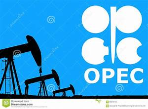 Opec Logo And Silhouette Industrial Oil Pump Jack Stock Photo