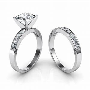 princess cut channel set engagement ring wedding band With channel wedding rings