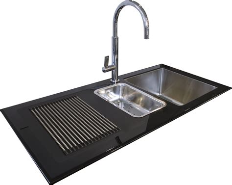 small black kitchen sink reflection 1 5 bowl inset black glass sink northern sink 5355