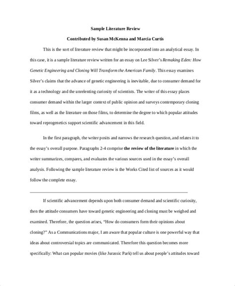Explanatory text following examples by bc o'donnell (email protected) 1) example summary of primary research paper van der laak, s. FREE 7+ Sample Literature Review Templates in PDF | MS Word