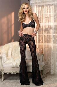 Black Floral Lace Retro Lounge Pants Outfit @ Amiclubwear Outfits Clothing online store sales ...