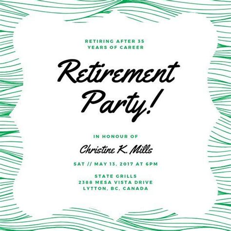 foilage retirement party invitation templates  canva