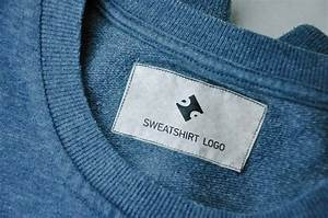 free clothing sewing jeans sweatshirt label tag psd With clothing label mockup