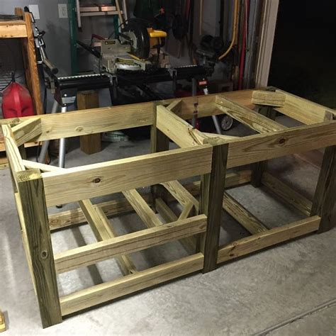 diy big green egg table  concrete top  barn door