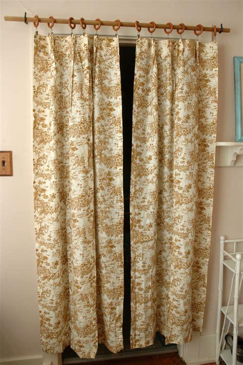 mid century pair toile curtain panels brown german print
