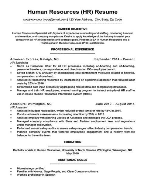Human Resources Resume Objective by Human Resources Resume Sle Writing Tips Resume