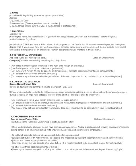 sample chronological resume templates  ms word