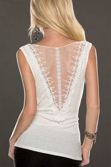White Sleeveless Mesh Cut Out Back Lace Top #020236 ...