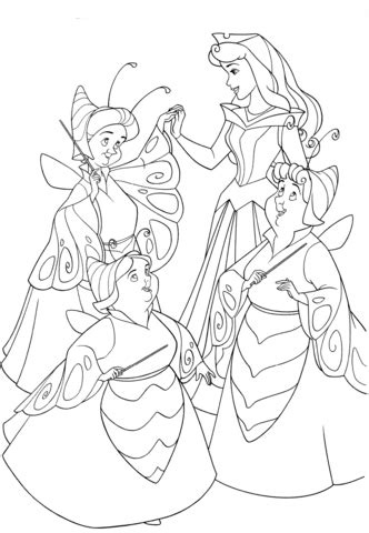 good fairies  dressed  butterflies coloring page