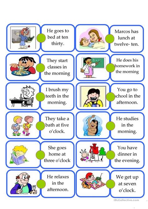 esl daily routines worksheets