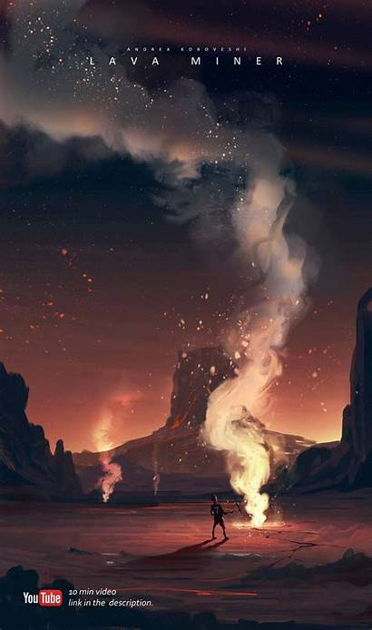 Lava Fantasy Koroveshi Miner Landscape Concept Paysage