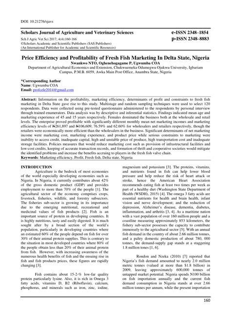 (PDF) Price Efficiency and Profitability of Fresh Fish