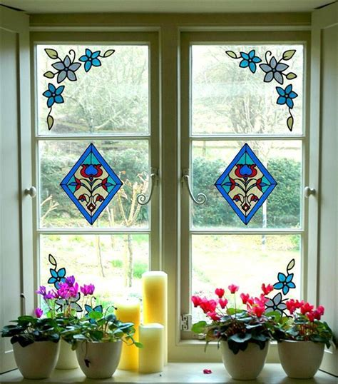 stained glass cling window stickers set 2 diamonds and 4