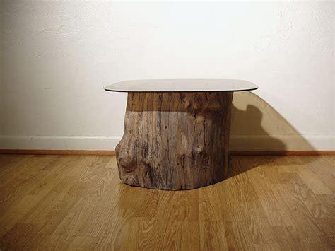 pnw driftwood douglas fir stump table  glass top