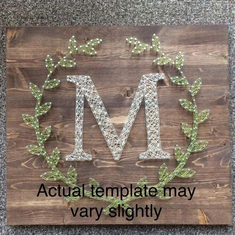 letter  laurel leaf monogram string art template etsy