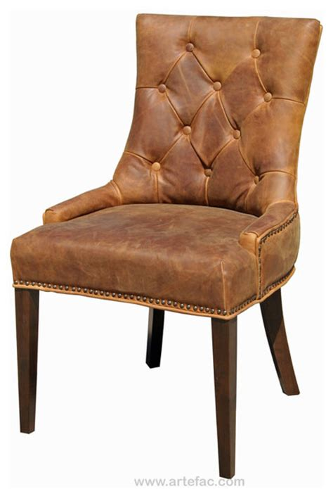 antique brown accent leather dining chair rustic dining chairs