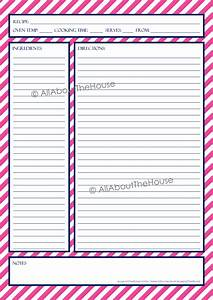 Recipe template | AllAboutTheHouse Printables