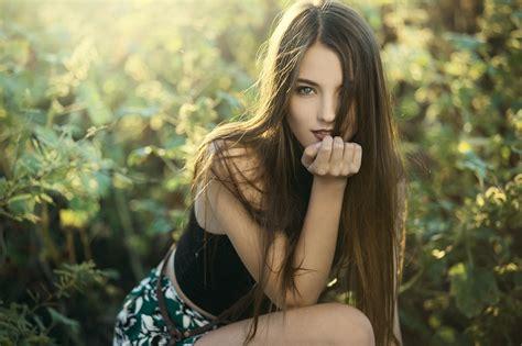 women model brunette long hair hair  face straight
