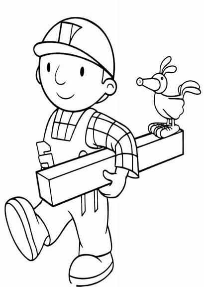 Coloring Wood Pages Bob Builder Holding Blippi