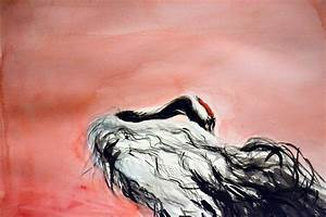 Red-crowned Crane #3 Painting by Jennifer Ruderman