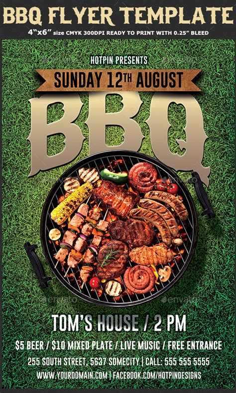 inspired   summer bbq flyer template