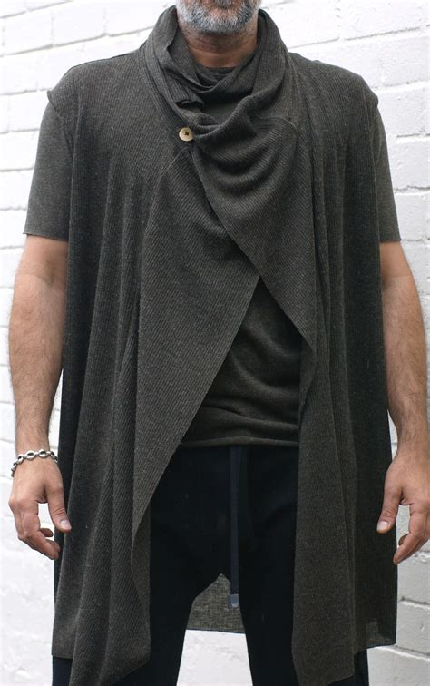 mens drape cardigan t shirt and sleeveless drape cardigan sewing projects