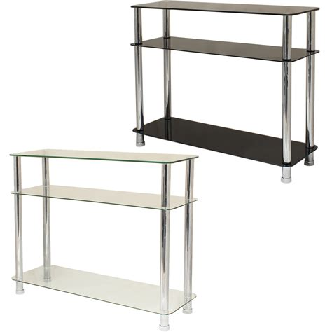 glass console table with shelf glass 3 tier side console table shelf unit bedroom lounge