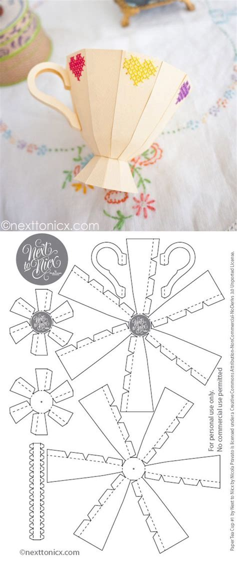 embroidered  paper tea cup  template