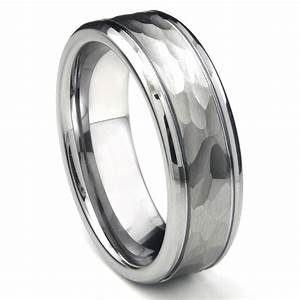 tungsten carbide hammer finish wedding band ring w grooves With tungsten carbide wedding ring