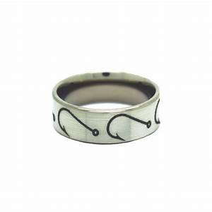 Fishing hook wedding rings fish hook band by one camo for Fish hook wedding ring
