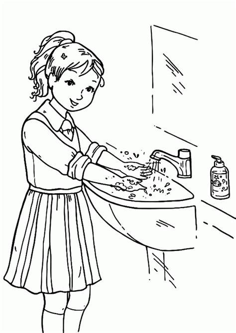 Handwashing Coloring Page  Coloring Home