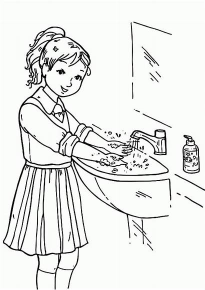 Coloring Pages Washing Hand Hands Wash Healthy
