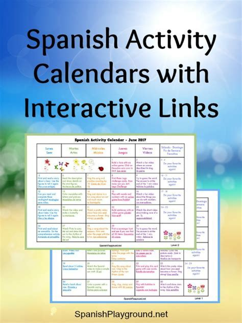 Spanish Activity Calendars for Kids   Spanish Playground
