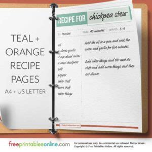 printable recipe pages archives  printables