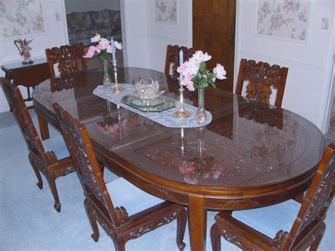 Chinese Hand Carved Dining room table & chairs For Sale